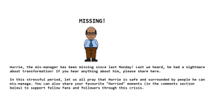 Hurrie goes missing