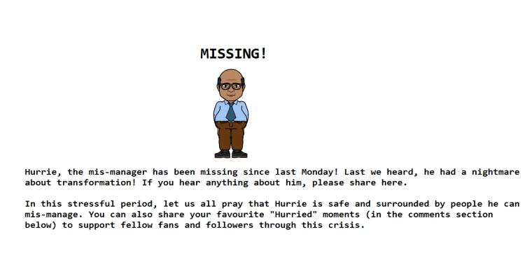 Hurrie goes missing